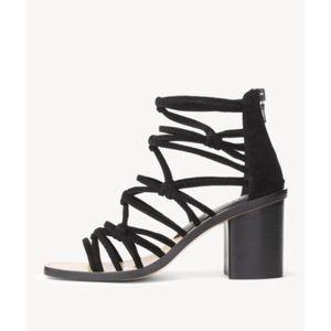 Rag and Bone Camille Macrame Mid-Heel Black Sandal